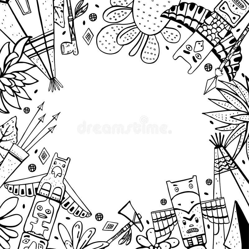 Feld mit traditionellen Gegenständen des amerikanischen Ureinwohners Wigwame, Totempfähle, Kakteen, Waffen Gezeichnete Skizzenill stock abbildung