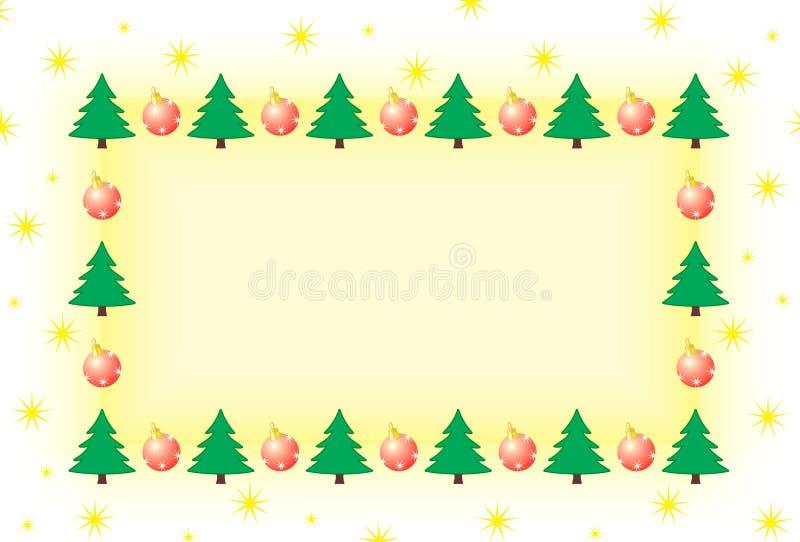 Feld mit Weihnachtsbaum und Verzierungen stockfotografie