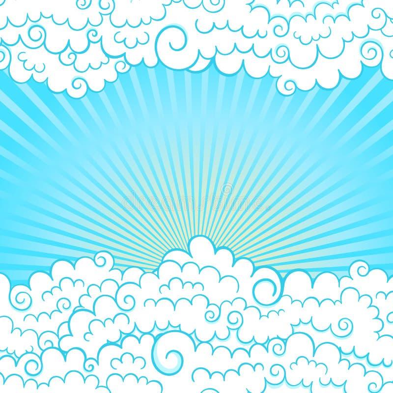 Feld mit Wolken vektor abbildung