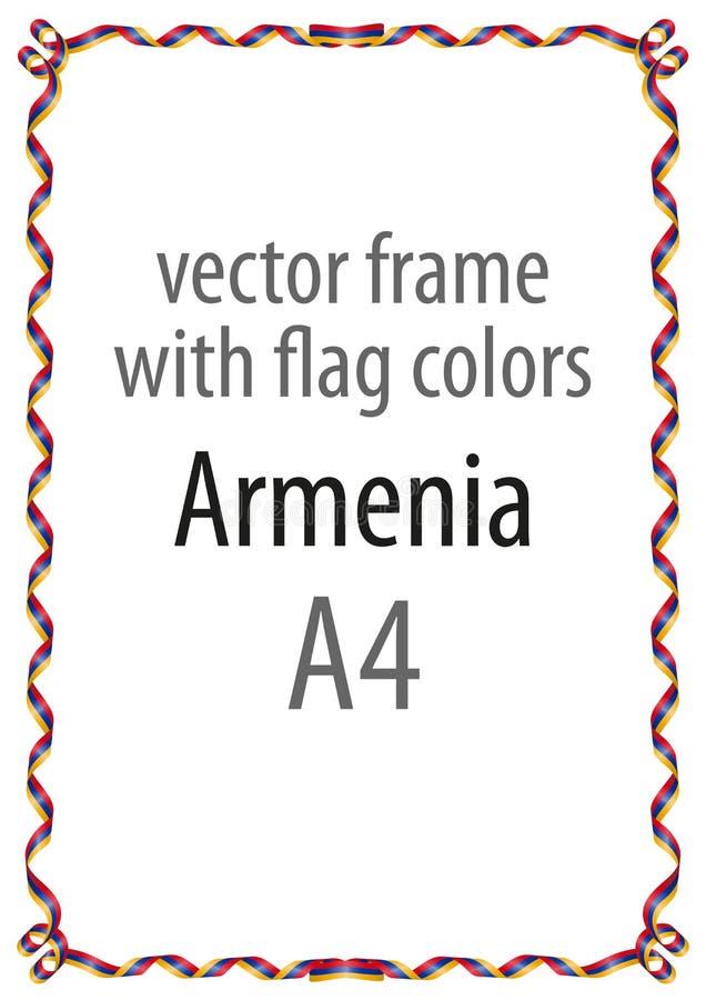 Feld und Grenze des Bandes mit den Farben der Armenien-Flagge vektor abbildung