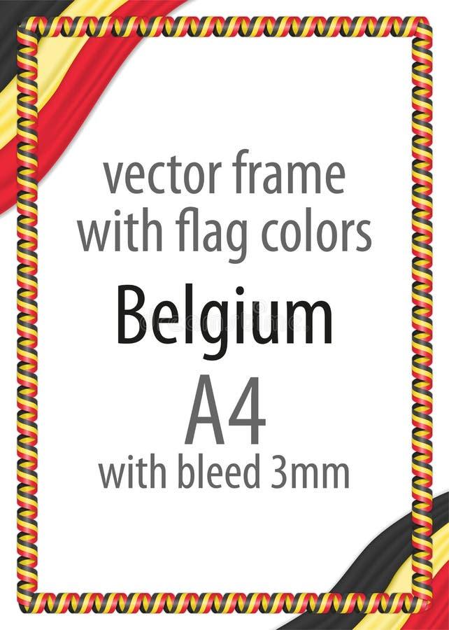 Feld und Grenze des Bandes mit den Farben der Belgien-Flagge lizenzfreie abbildung