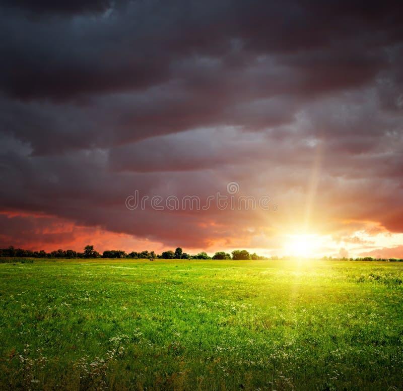 Feld und Himmel mit schweren dunklen Wolken stockfoto