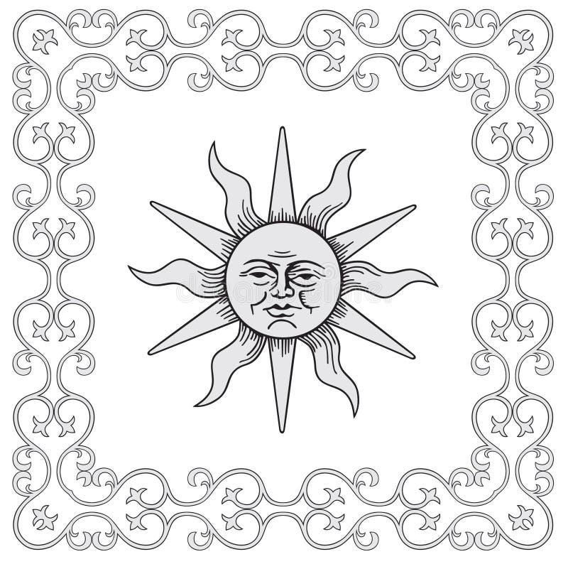 Feld- und Sonnevektor lizenzfreie abbildung