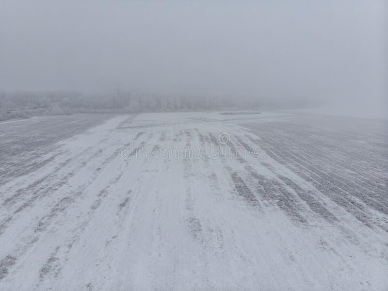 Feld und wei?e gefrorene B?ume im Nebel im Winter, Vogelperspektive vom Hoch lizenzfreies stockbild