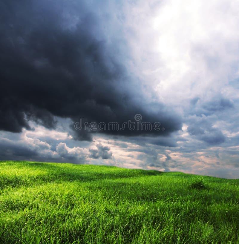 Feld und Wolken stockfotos