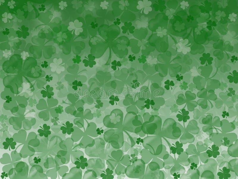 Feld verlässt den Kleekleeshamrockmuster St- Patrickgrünhintergrund, irisch stockbild