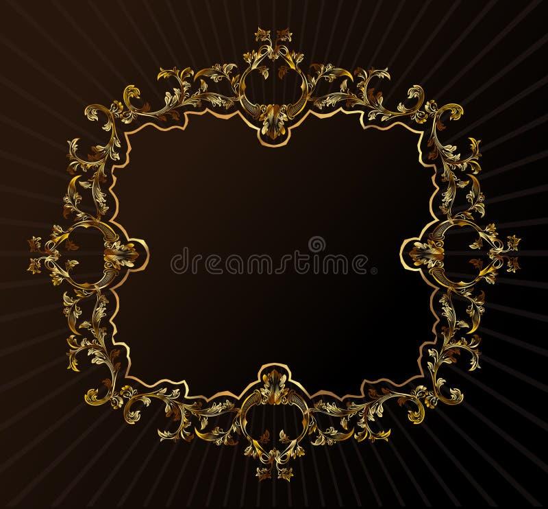 Feld-Verzierunggold der vektorweinlese königliches Retro- vektor abbildung