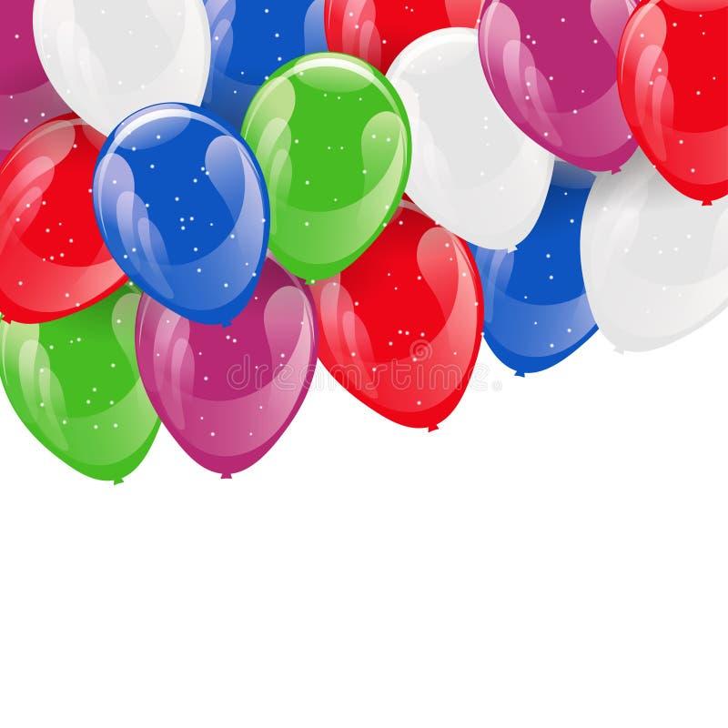 Feld von bunten funkelnden Heliumballonen lizenzfreie abbildung