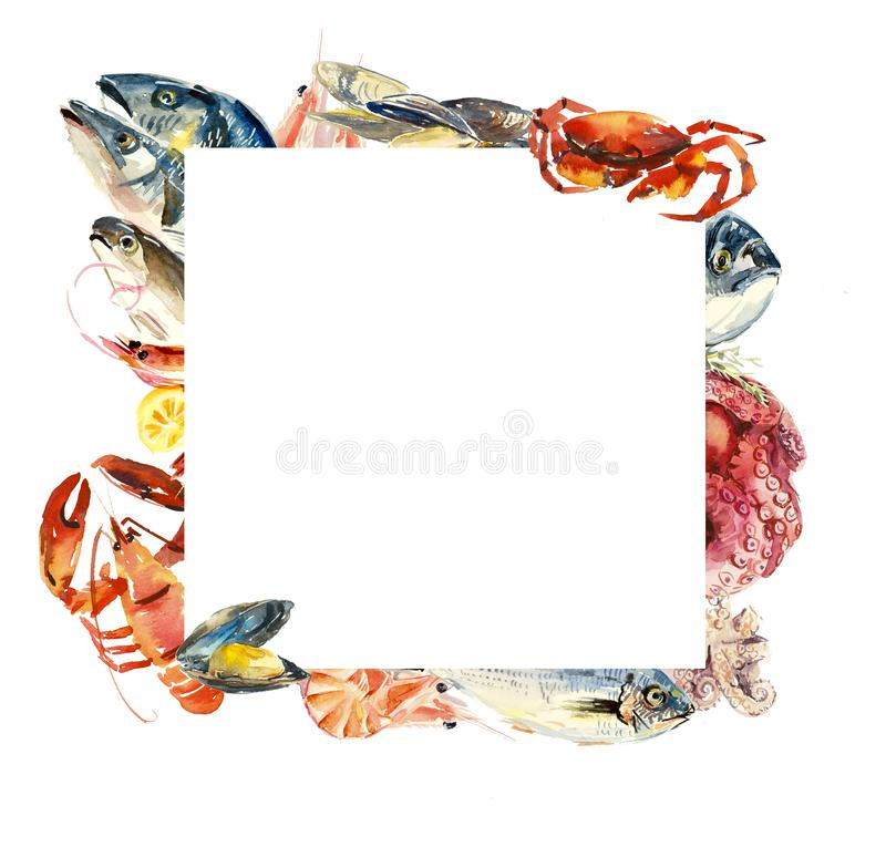 Feld von den Fischen und von den Meeresfrüchten menü Verschiedene Zusammensetzungen Gezeichnete Illustration des Aquarells Hand vektor abbildung