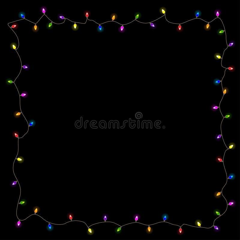 Feld von farbigen Weihnachtslichtern, Vektorillustration lizenzfreies stockfoto