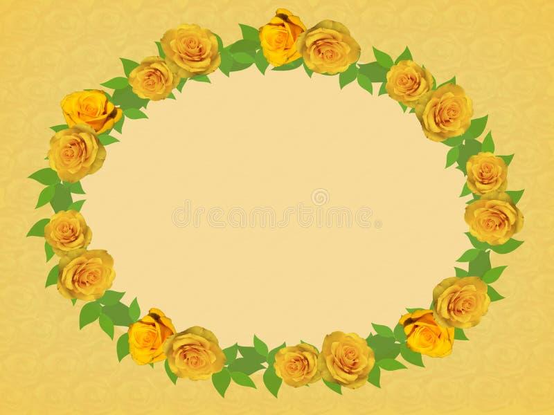 Feld von gelben Rosen lizenzfreie abbildung