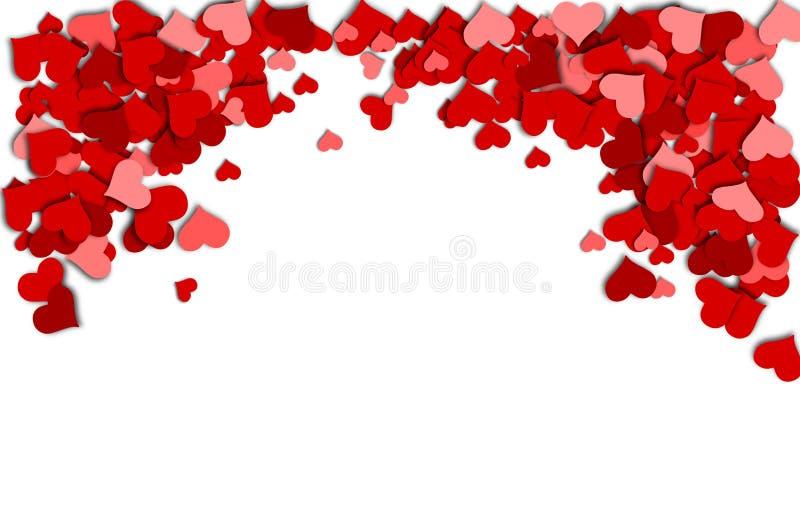 Feld von roten Herzen auf einem weißen Hintergrund während eines Valentinstags stock abbildung