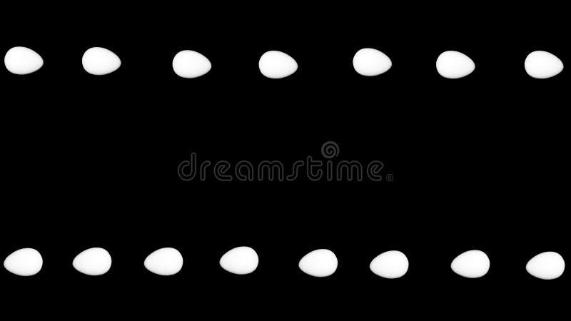 Feld von weißen Eiern auf schwarzem Hintergrund - der Kontrast des lokalisierten Gegenstandes stockfotos