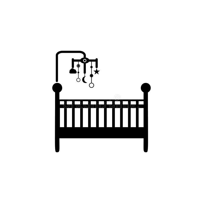 Feldbett mit Spielwarenikone Element der Babyikone Erstklassiges Qualitätsgrafikdesign Zeichen und Symbolsammlungsikone für Websi lizenzfreie abbildung