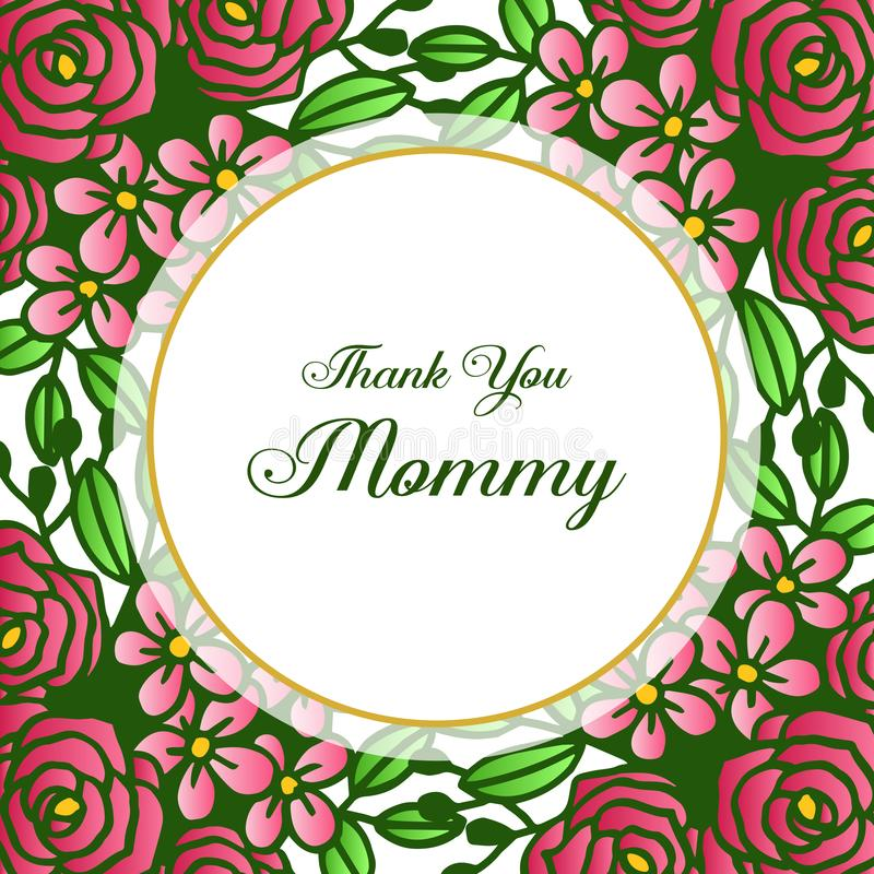 Feldblume stieg Blüte, für das Beschriften, Sie zu danken Mama Vektor lizenzfreie abbildung
