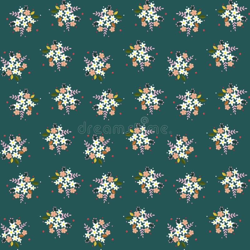 Feldblumen-Zweigbeeren der nahtlosen Blumenmusterzusammensetzung verlässt kleine auf grünem bläulichem Hintergrund, Gewebe, Tapis vektor abbildung