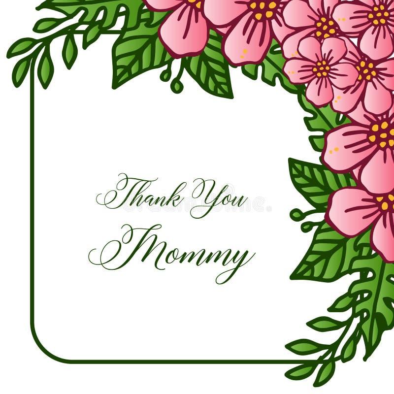 Feldblumenrosa und lässt grüne Blüte, für Themen entwerfen danken Ihnen Mama Vektor stock abbildung