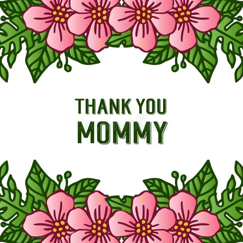 Feldblumenrosa und lässt grüne Blüte, für Themen entwerfen danken Ihnen Mama Vektor lizenzfreie abbildung