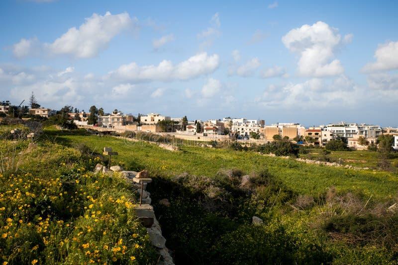 Felder gerade außerhalb tal Ibrag, Malta stockfotografie
