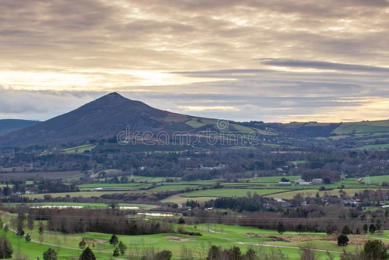 Felder um großen Sugar Loaf, Grafschaft Wicklow stockbilder