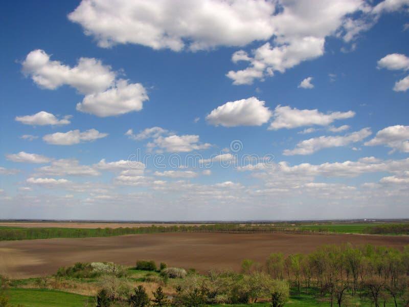 Felder und Wolken stockfotos