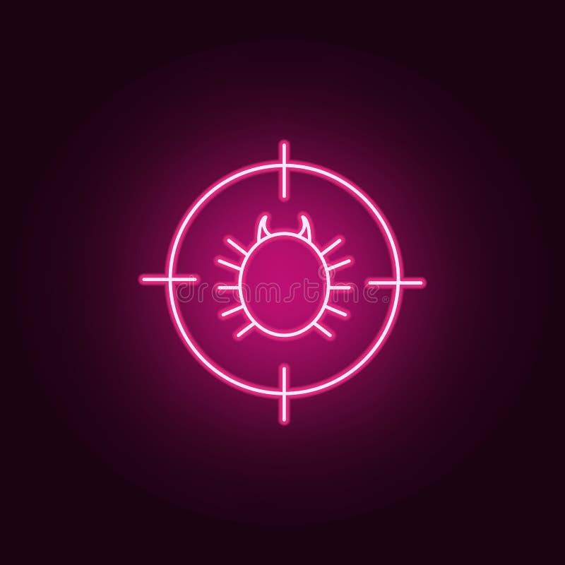 feldesinfektörsymbol Beståndsdelar av det plågakontroll och krypet i neonstilsymboler Enkel symbol för websites, rengöringsdukdes royaltyfri illustrationer