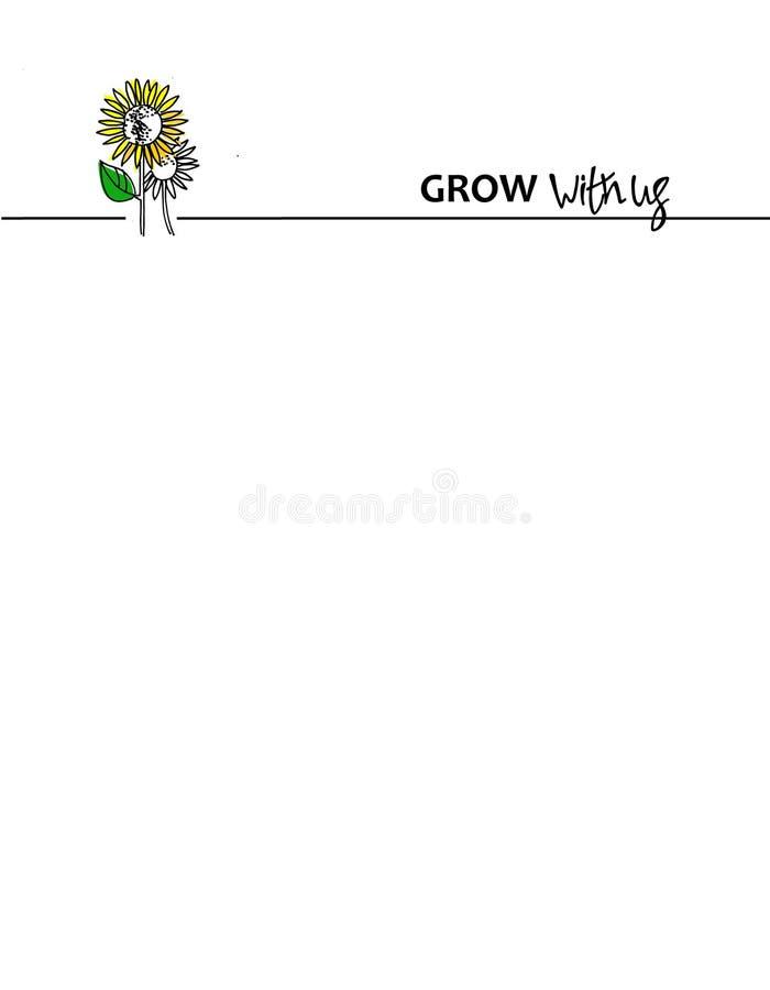Feldhintergrund mit Sonnenblumen und mit uns Motivphrase wachsen Ein Titel für das Job-Angebot und die Unternehmensbuchstaben stock abbildung