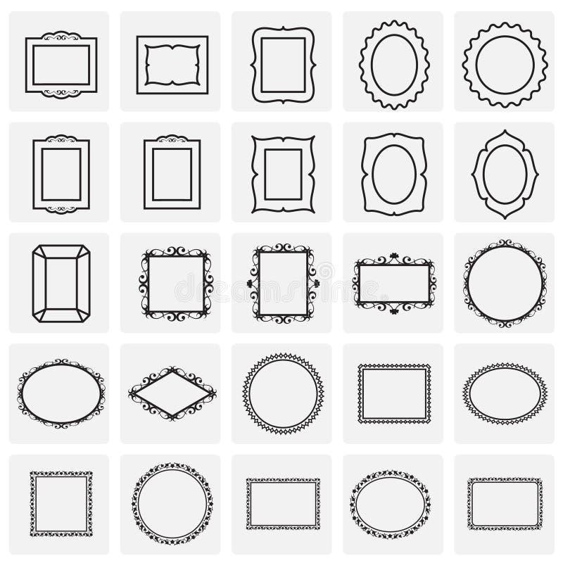 Feldikonen eingestellt auf Quadrathintergrund für Grafik und Webdesign Einfaches Vektorzeichen Internet-Konzeptsymbol f?r stock abbildung