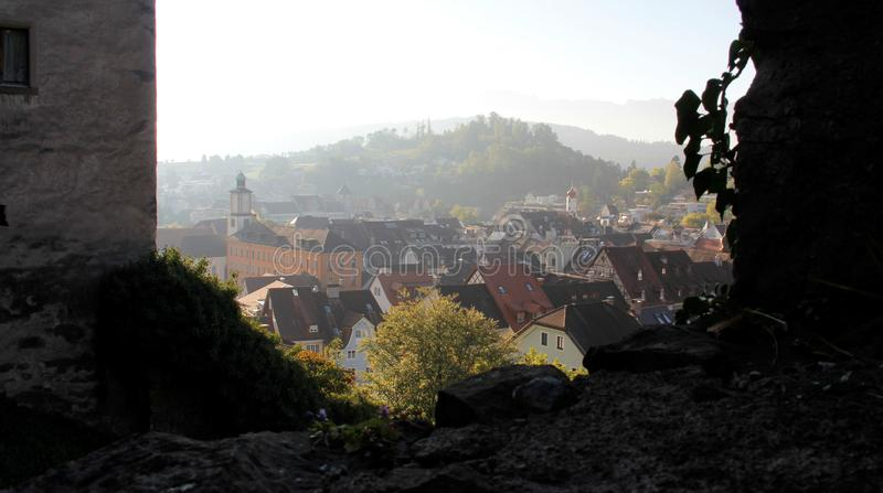Feldkirch City View With Evening Light From Above. Historic old town with evening light during summer and autumn in Feldkirch in Austria stock photo