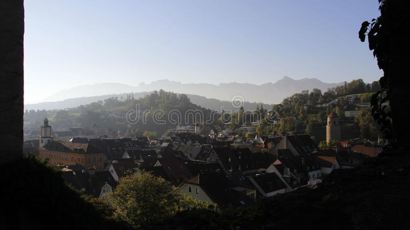 Feldkirch City View With Evening Light. Historic old town with evening light during summer and autumn in Feldkirch in Austria royalty free stock photography