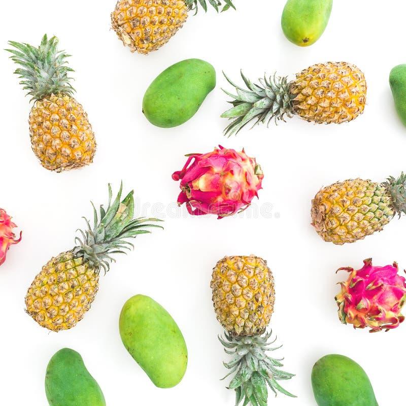 Feldmuster mit Ananas-, Mango- und Drachefrüchten auf weißem Hintergrund Flache Lage, Draufsicht vektor abbildung