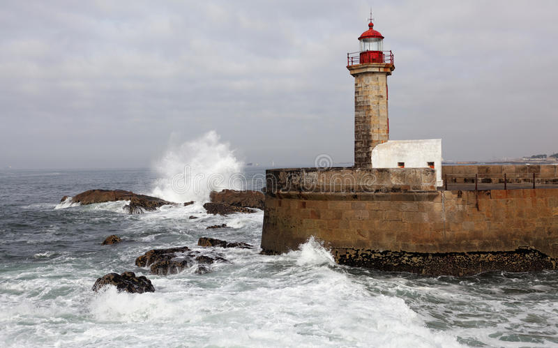 The Felgueiras Lighthouse in Foz do Douro, Portugal. royalty free stock image