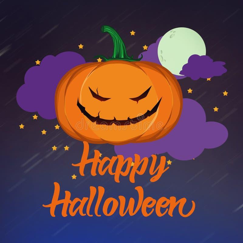 Felice biglietto di auguri per Halloween con un testo di Jack-o-lantern ans fotografie stock