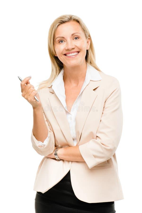 Felice maturo della donna isolato su fondo bianco fotografie stock