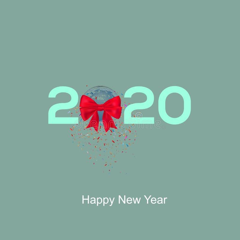 2020 felice mondo del nuovo anno con nastro di nastro e confettis royalty illustrazione gratis