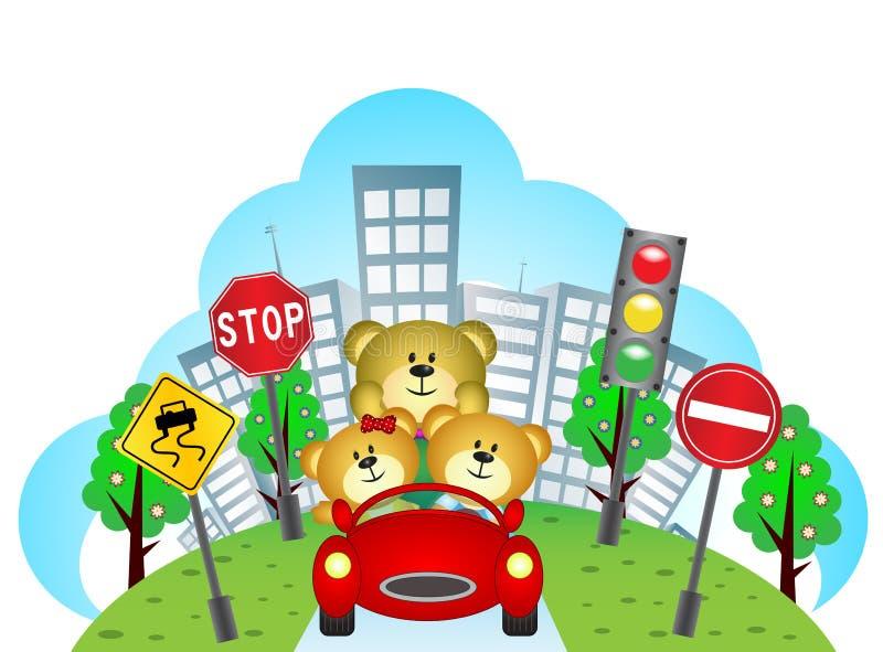 Download Felice Riguarda Un'automobile Con Il Fondo Della Città Ed Il Segnale Stradale Illustrazione di Stock - Illustrazione di colore, fumetto: 55355431