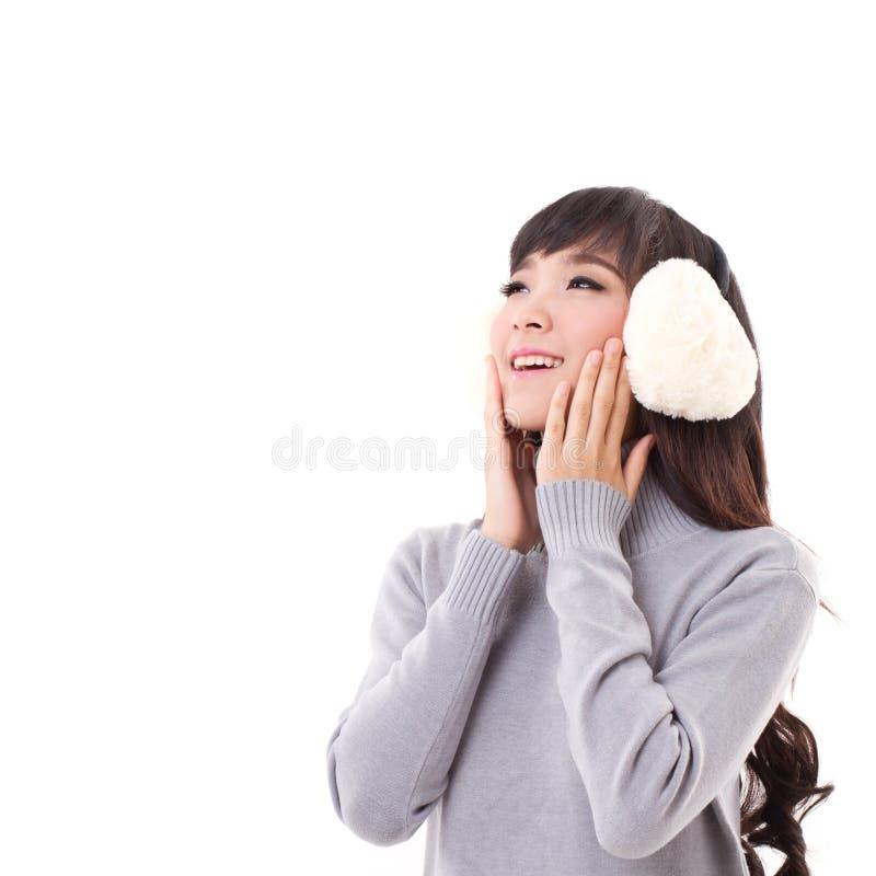 Felice, sorridendo, donna con cercare della cuffia fotografie stock