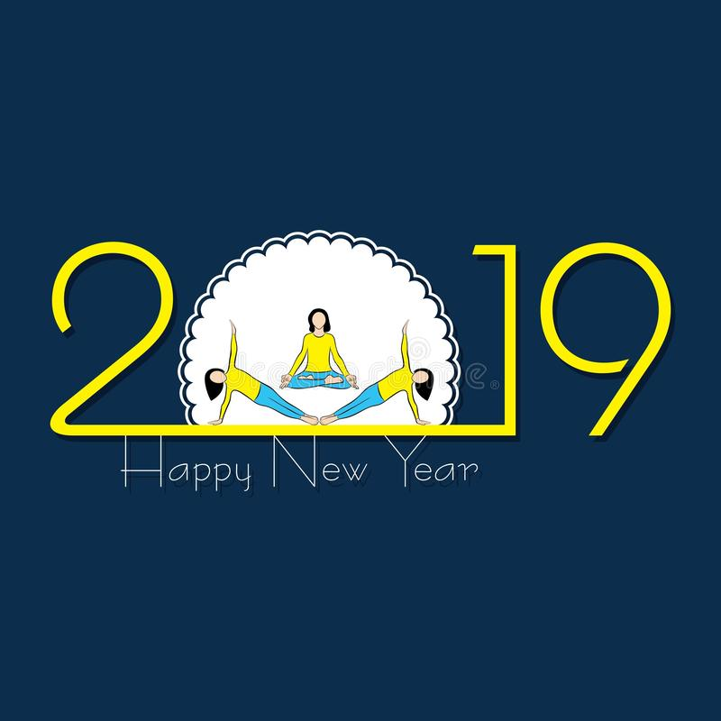 2019 Felices Año Nuevo con el diseño creativo para su tarjeta de felicitaciones libre illustration