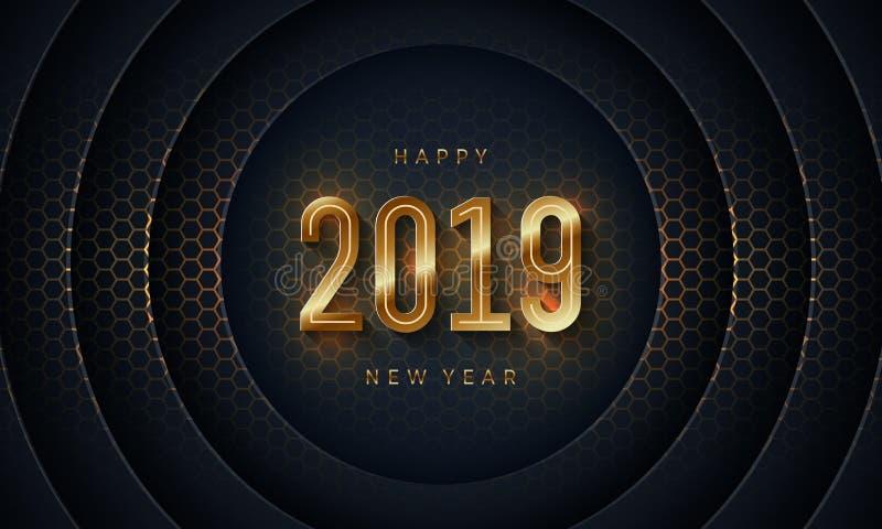 2019 Felices Año Nuevo con el fondo oscuro del corte del papel del círculo Fondo moderno abstracto del vector de la textura 3D libre illustration