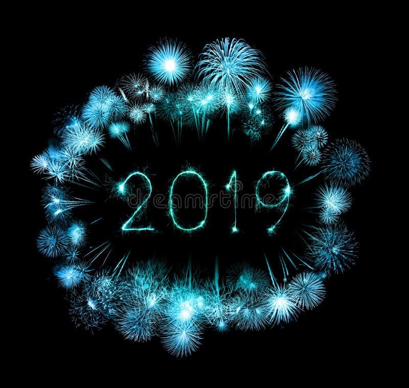 2019 Felices Año Nuevo con el fuego artificial de la chispa imágenes de archivo libres de regalías