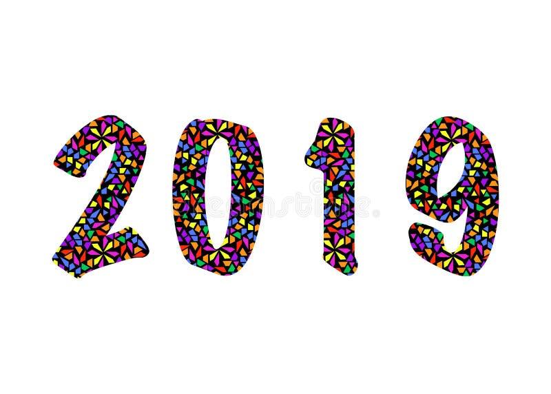 2019 Felices Año Nuevo con textura del modelo de mosaico del color, estilo moderno abstracto, fondo aislado o blanco del ejemplo  libre illustration