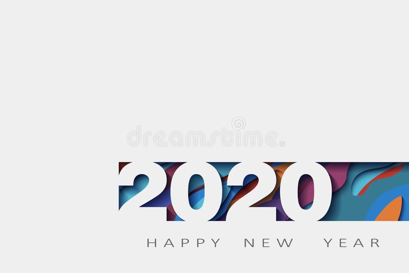 2020 Felices Año Nuevo, año de la rata, diseño abstracto 3d, ejemplo, realista acodada, para las banderas, aviadores de los carte stock de ilustración