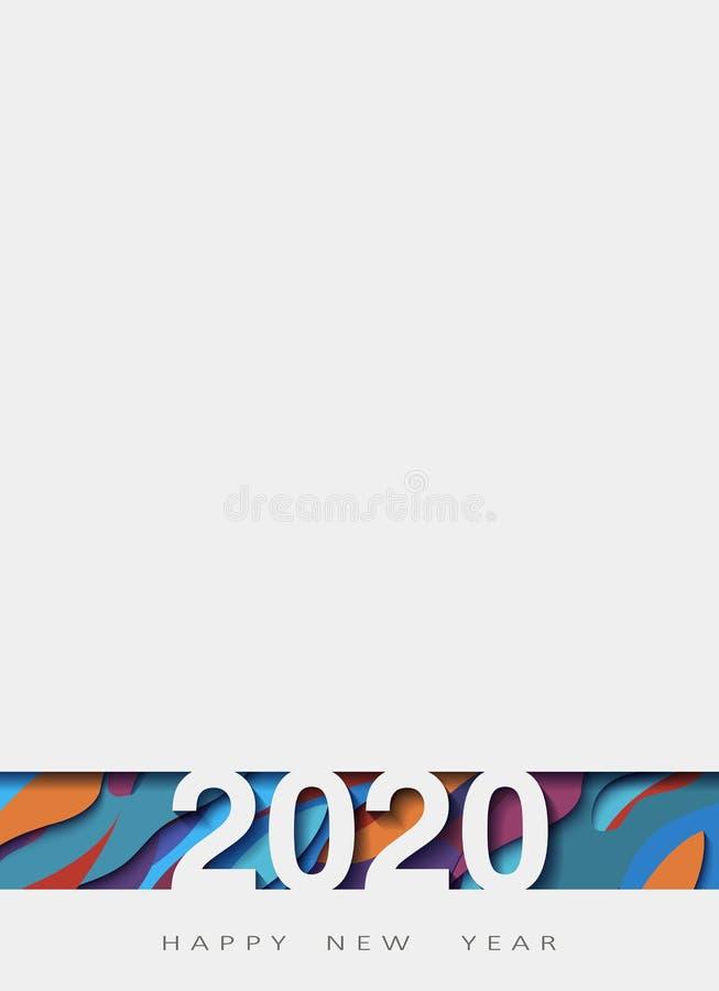 2020 Felices Año Nuevo, año de la rata, diseño abstracto 3d, ejemplo, realista acodada, para las banderas, aviadores de los carte libre illustration
