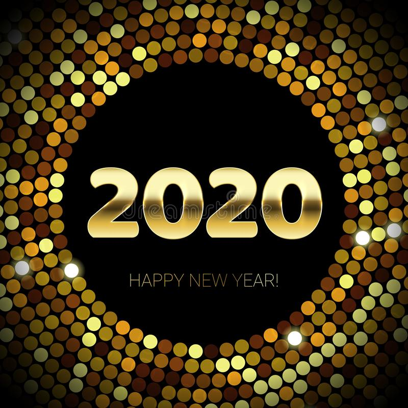 2020 Felices Año Nuevo del brillo del oro y del círculo del confeti de las lentejuelas Texto y números que brillan de oro del vec libre illustration