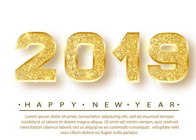 2019 Felices Año Nuevo Diseño de los números del oro de tarjeta de felicitación Modelo brillante del oro Bandera de la Feliz Año  ilustración del vector