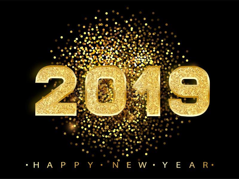2019 Felices Año Nuevo Diseño de los números del oro de tarjeta de felicitación Modelo brillante del oro Bandera de la Feliz Año  libre illustration