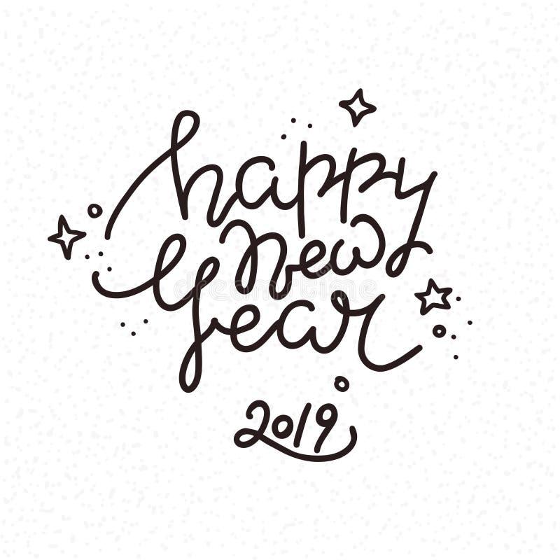 2019 Felices Año Nuevo E Ejemplos del clipart del vector aislados en el fondo blanco libre illustration