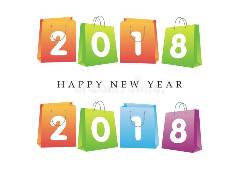 2018 Felices Año Nuevo en el panier libre illustration