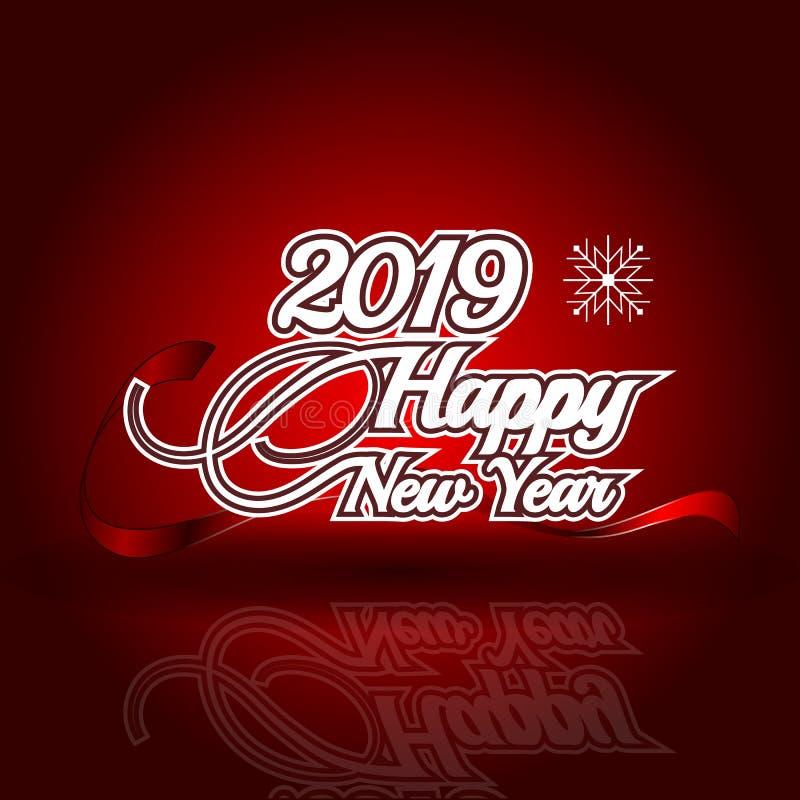 2019 Felices Año Nuevo en fondo rojo de la reflexión stock de ilustración