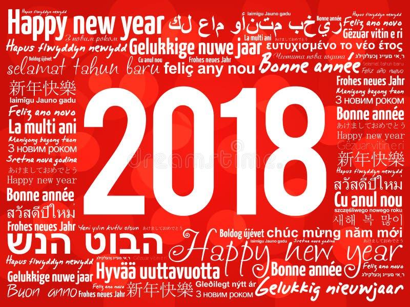 2018 Felices Año Nuevo en otros idiomas ilustración del vector